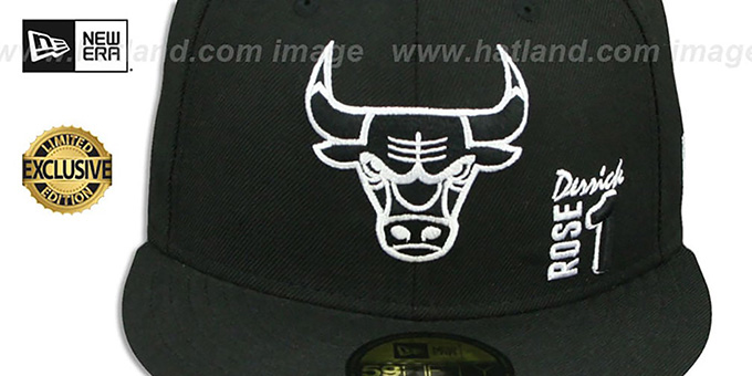 Bulls 'DERRICK ROSE 1' Black-White Fitted Hat by New Era