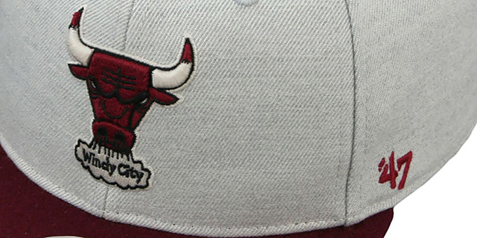 Bulls HWC 'SATCHEL SNAPBACK' Grey-Maroon Adjustable Hat by Twins 47 Brand