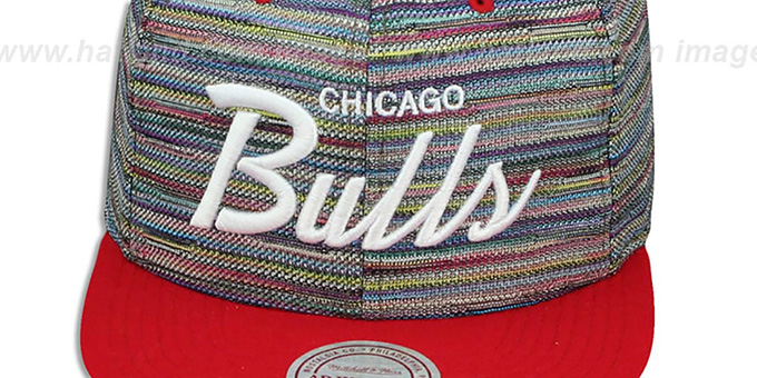 Bulls 'KNIT-WEAVE SNAPBACK' Multi-Red Hat by Mitchell and Ness