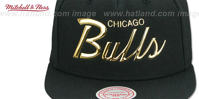 56813f61682 ... Bulls  LIQUID METALLIC SCRIPT SNAPBACK  Black-Gold Hat by Mitchell and  Ness ...