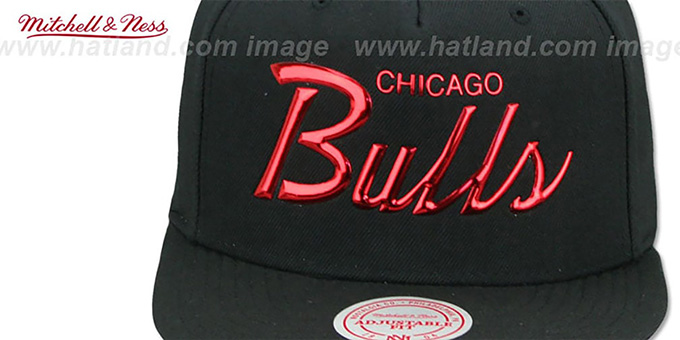 ... Bulls  LIQUID METALLIC SCRIPT SNAPBACK  Black-Red Hat by Mitchell and  Ness ... e56ea9855d86