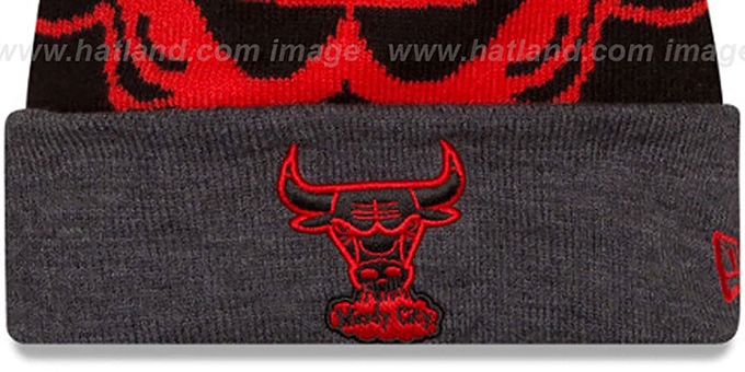 Bulls 'LOGO WHIZ' Black-Charcoal Knit Beanie Hat by New Era