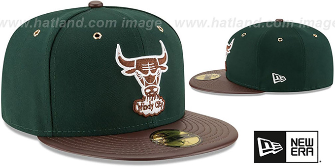 Bulls 'METAL HOOK' Green-Brown Fitted Hat by New Era