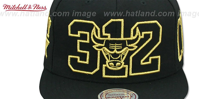 Bulls 'METALLIC AREA-CODE SNAPBACK' Black Hat by Mitchell and Ness