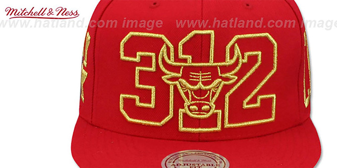 Bulls 'METALLIC AREA-CODE SNAPBACK' Red Hat by Mitchell and Ness