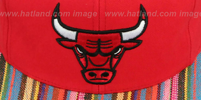 Bulls 'NATIVE-STRIPE SNAPBACK' Red Hat by Mitchell & Ness