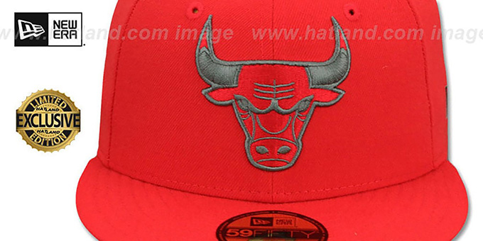 Bulls 'NBA TEAM-BASIC' Fire Red-Charcoal Fitted Hat by New Era