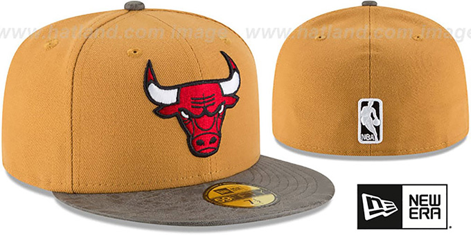 Bulls 'RUSTIC-VIZE' Wheat-Grey Fitted Hat by New Era