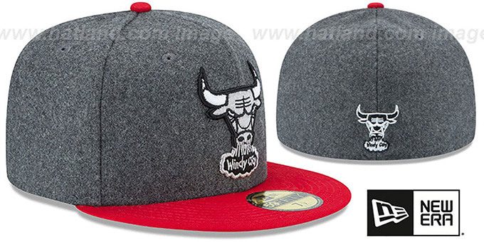 Bulls 'SHADER MELTON' Grey-Red Fitted Hat by New Era