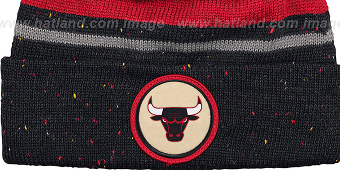 Bulls 'HWC SPECKLED' Black-Red Knit Beanie by Mitchell and Ness