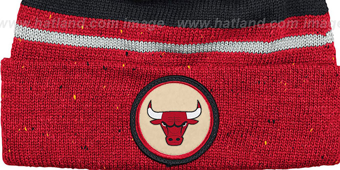 Bulls 'SPECKLED' Red-Black Knit Beanie by Mitchell and Ness