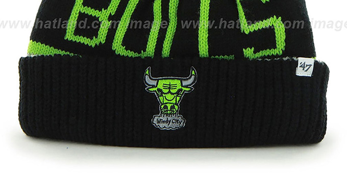 Bulls 'THE-CALGARY' Black-Grey-Lime Knit Beanie Hat by Twins 47 Brand