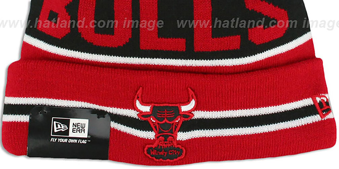 Bulls 'THE-COACH' Red-Black Knit Beanie Hat by New Era