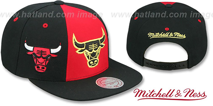Bulls 'TRIPLE STACK SNAPBACK' Red-Black Hat by Mitchell and Ness