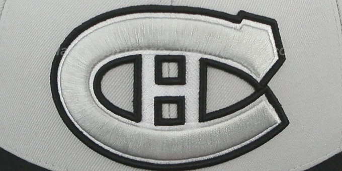 Canadiens 'MONOCHROME XL-LOGO' Grey-Black Fitted Hat by Mitchell & Ness