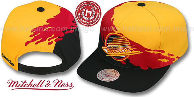 Canucks 'PAINTBRUSH SNAPBACK' Gold-Red-Black Hat by Mitchell & Ness