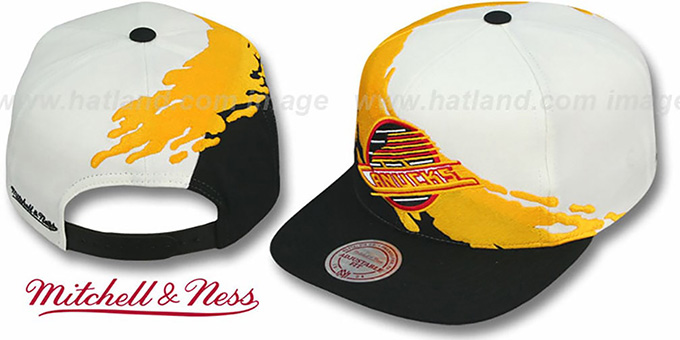 Canucks 'PAINTBRUSH SNAPBACK' White-Gold-Black Hat by Mitchell & Ness