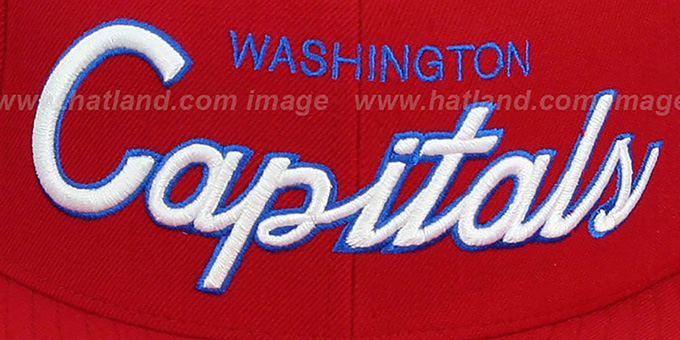 Capitals 'CLASSIC-SCRIPT' Red Fitted Hat by Mitchell & Ness