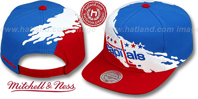 Capitals 'PAINTBRUSH SNAPBACK' Royal-White-Red Hat by Mitchell & Ness