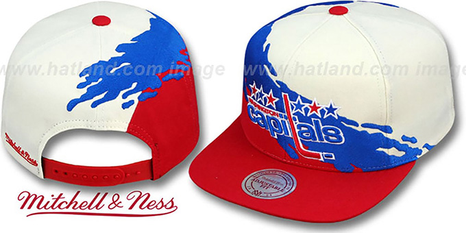 Capitals 'PAINTBRUSH SNAPBACK' White-Royal-Red Hat by Mitchell & Ness