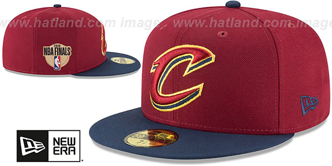 Cavaliers '2018 FINALS' Burgundy-Navy Fitted Hat by New Era