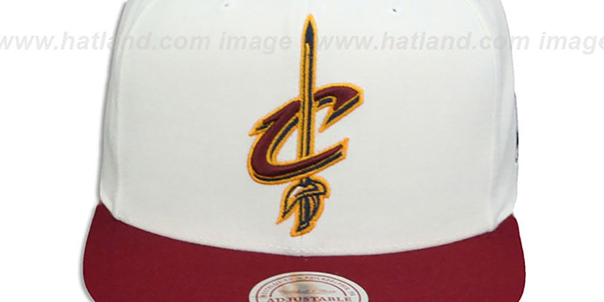 Cavaliers '2T XL-LOGO SNAPBACK - 2' White-Burgundy Hat by Mitchell and Ness