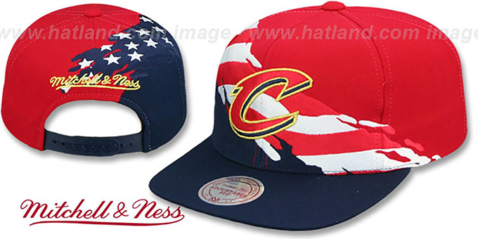 Cavaliers 'BRUSHED FLAG SNAPBACK' Red-Navy Hat by Mitchell and Ness