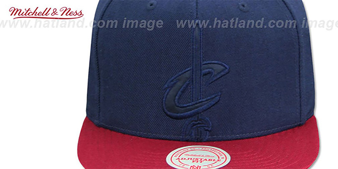 Cavaliers 'CROPPED SATIN SNAPBACK' Navy-Burgundy Adjustable Hat by Mitchell and Ness