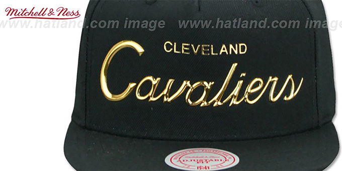 Cavaliers 'LIQUID METALLIC SCRIPT SNAPBACK' Black-Gold Hat by Mitchell and Ness