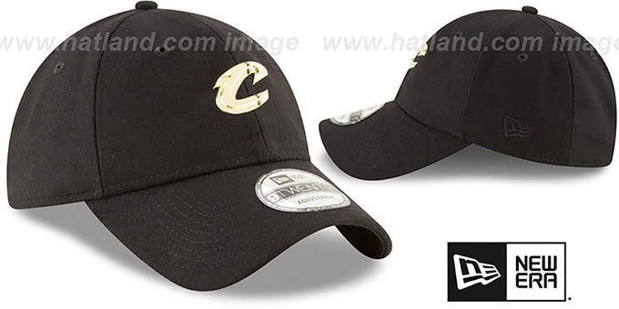 Cavaliers 'MINI GOLD METAL-BADGE STRAPBACK' Black Hat by New Era