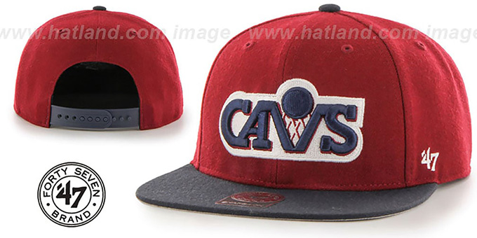 Cavaliers 'SURE-SHOT SNAPBACK' Burgundy-Navy Hat by Twins 47 Brand