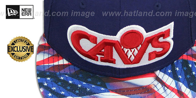Cavaliers 'USA WAVING-FLAG' Navy Fitted Hat by New Era