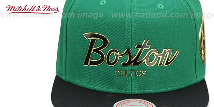 Celtics 'CITY CHAMPS SCRIPT SNAPBACK' Green-Black Hat by Mitchell and Ness