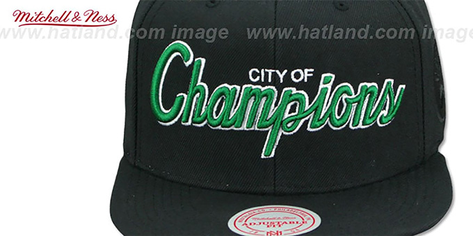 Celtics 'CITY NICKNAME SCRIPT SNAPBACK' Black Hat by Mitchell and Ness
