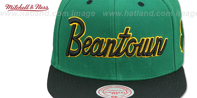 Celtics HWC 'CITY NICKNAME SCRIPT SNAPBACK' Green-Black Hat by Mitchell and Ness
