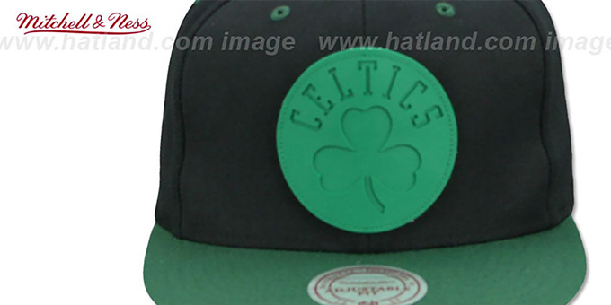 Celtics 'XL RUBBER WELD SNAPBACK' Black-Green Adjustable Hat by Mitchell and Ness