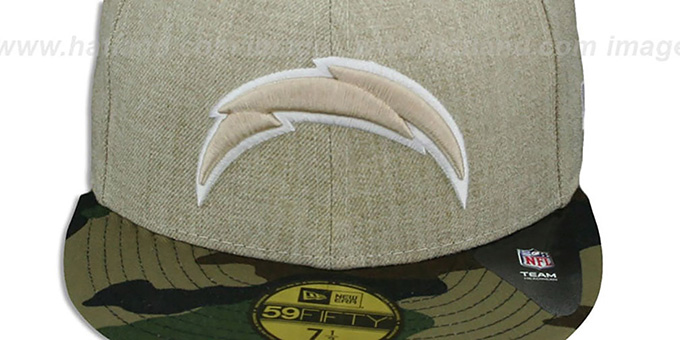 Chargers '2T-HEATHER' Oatmeal-Army Fitted Hat by New Era