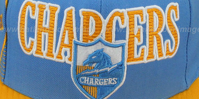 Chargers 'LASER-STITCH SNAPBACK' Sky-Gold Hat by Mitchell and Ness