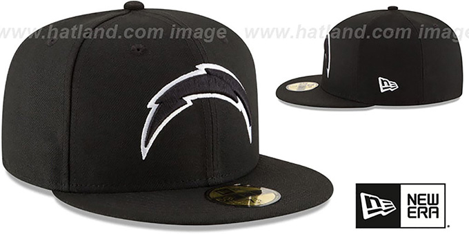 Chargers 'NFL TEAM-BASIC' Black-White Fitted Hat by New Era