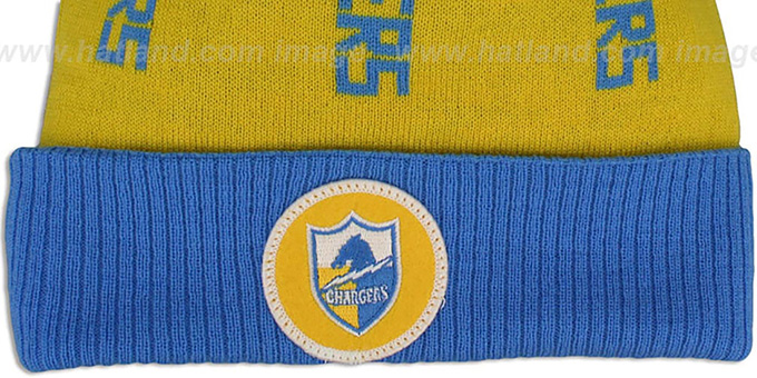 Chargers 'VERTICAL WORD BEANIE' Gold-Sky by Mitchell and Ness