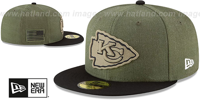 Chiefs '2018 SALUTE-TO-SERVICE' Olive-Black Fitted Hat by New Era