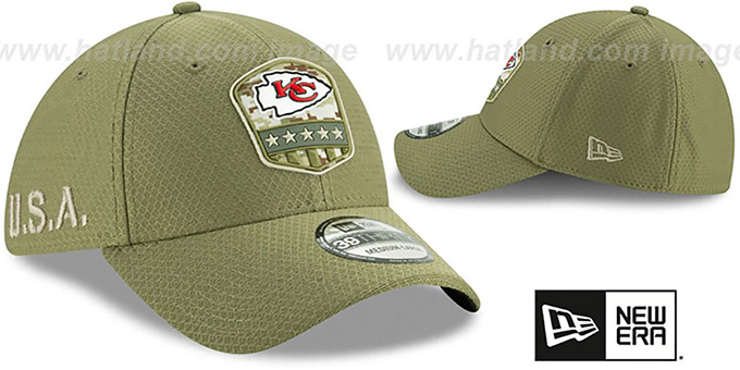 Chiefs '2019 SALUTE-TO-SERVICE FLEX' Olive Hat by New Era