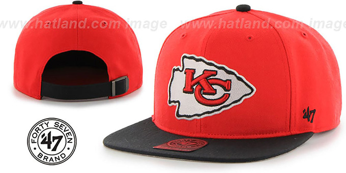 Chiefs 'SUPER-SHOT STRAPBACK' Red-Black Hat by Twins 47 Brand