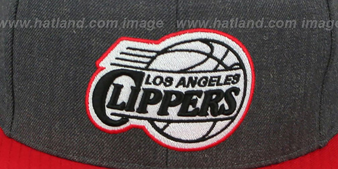 Clippers '2T-HEATHER SNAPBACK' Grey-Red Hat by Mitchell & Ness