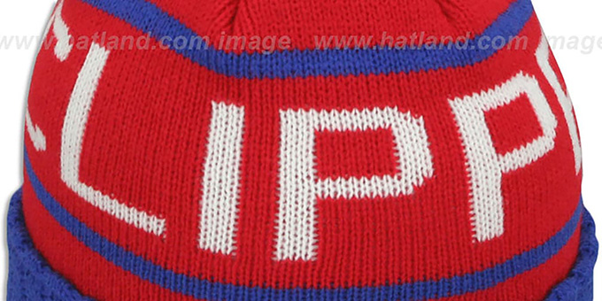 Clippers 'HIGH-5 CIRCLE BEANIE' Red-Royal by Mitchell and Ness