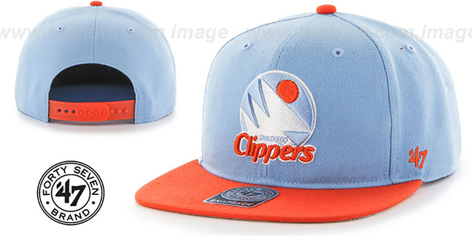 Clippers 'SURE-SHOT SNAPBACK' Sky-Orange Hat by Twins 47 Brand