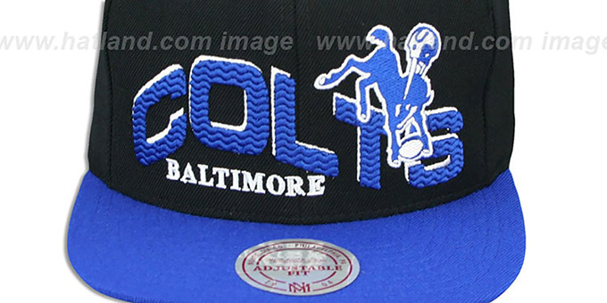 Colts 'THE-WAVE SNAPBACK' Black-Royal Hat by Mitchell and Ness