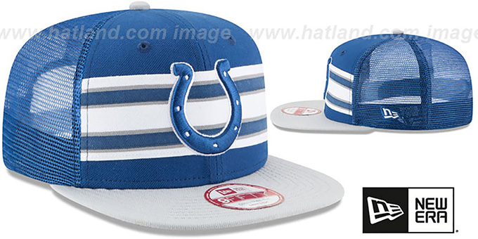 Colts 'THROWBACK-STRIPE SNAPBACK' Royal-Grey Hat by New Era