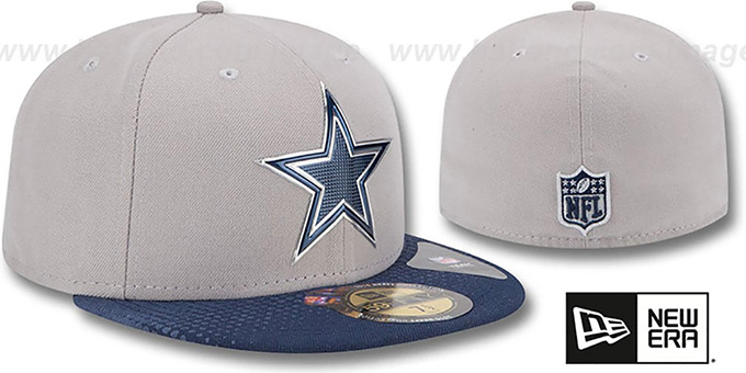 b960dddc51c ... Cowboys  2015 NFL DRAFT  Grey-Navy Fitted Hat by New Era ...