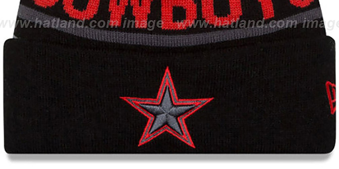 Cowboys 'BIGGEST FAN' Black-Red Knit Beanie Hat by New Era